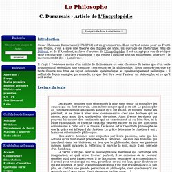 Le Philosophe - César Chesneau Dumarsais - Article de L'Encyclopédie