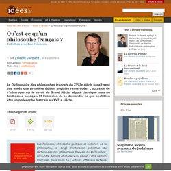 Qu'est-ce qu'un philosophe français