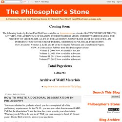 The Philosopher's Stone: HOW TO WRITE A DOCTORAL DISSERTATION IN PHILOSOPHY