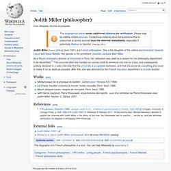 Judith Miller (philosopher)