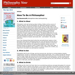 Philosophy Now | How To Be A Philosopher