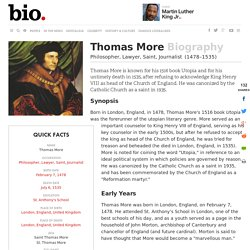 Thomas More - Biography - Philosopher, Lawyer, Saint, Journalist