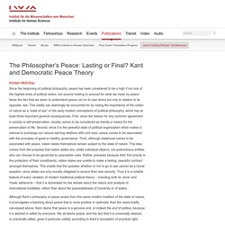 The Philosopher's Peace: Lasting or Final? Kant and Democratic Peace Theory