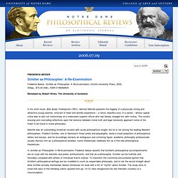 Schiller as Philosopher: A Re-Examination