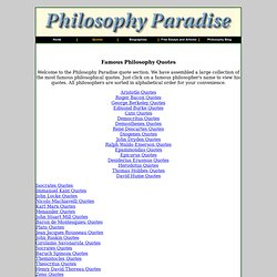 Philosophy Paradise - Biographies of famous philosophers, famous philosophical works, and philosophy discussion forum.