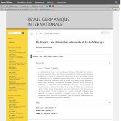 De l'esprit: les philosophes allemands et l'«Aufklärung»