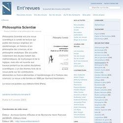Philosophia Scientiæ - Ent'revues, le site des revues culturelles