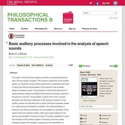 Basic auditory processes involved in the analysis of speech sounds