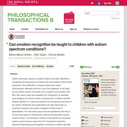 Can emotion recognition be taught to children with autism spectrum conditions?