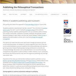 Politics in academic publishing: past to present
