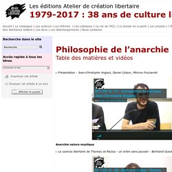 Philosophie de l'anarchie
