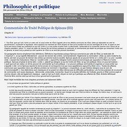 Commentaire du Traité Politique de Spinoza (III)