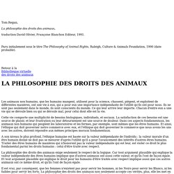 Tom Regan - La philosophie des droits des animaux