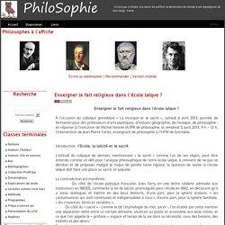 PhiloSophie - Enseigner le fait religieux dans l'école laïque ?
