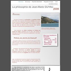 La philosophie de Jean-Marie GUYAU