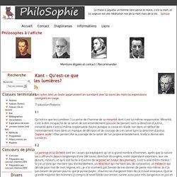 PhiloSophie - Lectures suivies (oral bac) - Kant - Qu'est-ce que les lumières?