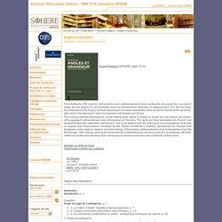 Sciences, Philosophie, Histoire – UMR 7219, laboratoire SPHERE - Angles et grandeur