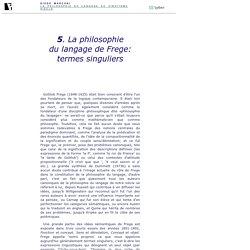 5. La philosophie du langage de Frege: termes singuliers. Diego Marconi