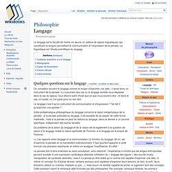 Philosophie/Langage