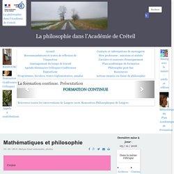 La philosophie dans l'Académie de Créteil - Mathématiques et philosophie