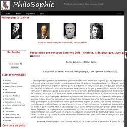 PhiloSophie - Préparation aux concours internes 2015 - Aristote, Métaphysique, Livre gamma