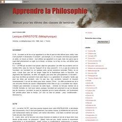 Lexique d'ARISTOTE (Métaphysique)