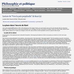 """Lecture du """"Vers la paix perpétuelle"""" de Kant (1)"""