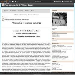Philosophie et sciences humaines - Page personnelle de Philippe Sabot
