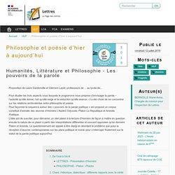 Philosophie et poésie d'hier à aujourd'hui