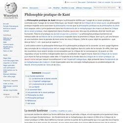 Philosophie pratique de Kant
