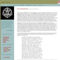 Philosophie présocratique: les atomistes