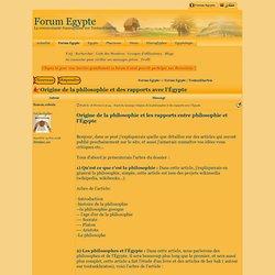 Origine de la philosophie et des rapports avec l'Égypte