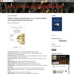 Cahiers critiques de philosophie nº 22 : Etienne Balibar et les singularisations de l'universel