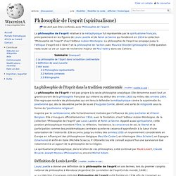Philosophie de l'esprit (spiritualisme)/ Wikipedia