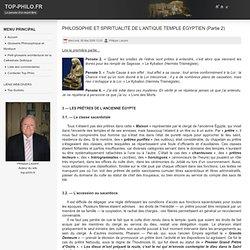 PHILOSOPHIE ET SPIRITUALITÉ DE L'ANTIQUE TEMPLE ÉGYPTIEN (Partie 2)
