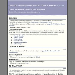 L6PH003U - TDs de Philosophie des sciences de J. Ravat et J. Dutant, UFR de Philosophie, Université de Paris IV-Sorbonne