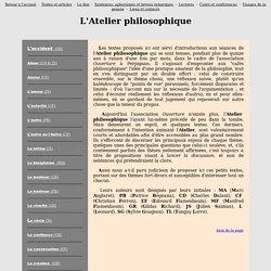 Atelier philosophique - Textes courts et abordables