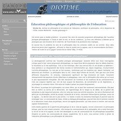 Éducation philosophique et philosophie de l'éducation