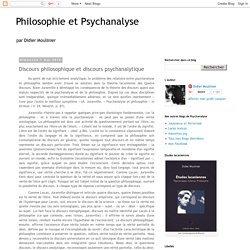 Discours philosophique et discours psychanalytique