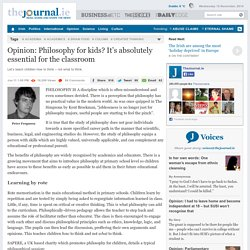 Opinion: Philosophy for kids? It's absolutely essential for the classroom