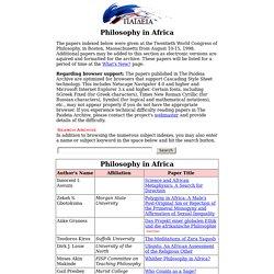 Philosophy in Africa