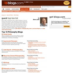Top 10 Philosophy Blogs : World News : News & Politics