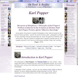 Philosophy Karl Popper: Discussion Popper's Problem of Induction. Quotes Karl Popper