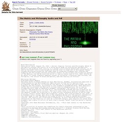 The Matrix and Philosophy Audio and Pdf