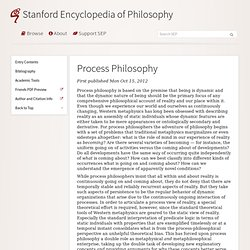 Process Philosophy - Stanford Encyclopedia of Philosophy