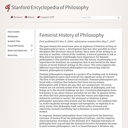 Feminist History of Philosophy