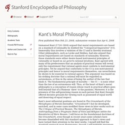 an analysis of kantian philosophy of morality Philosophy 302: ethics kantian ethics  abstract: kant's notion of the good will and the categorical imperative are briefly sketched introduction: an attraction to the kantian doctrines of obligation is begun along the following lines.