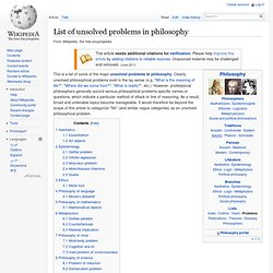 Unsolved problems in philosophy