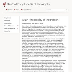 Akan Philosophy of the Person