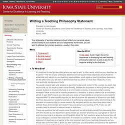 Writing a Teaching Philosophy Statement